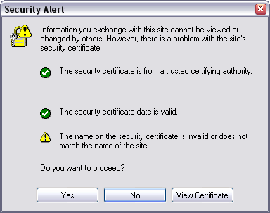 Certificate warning IE