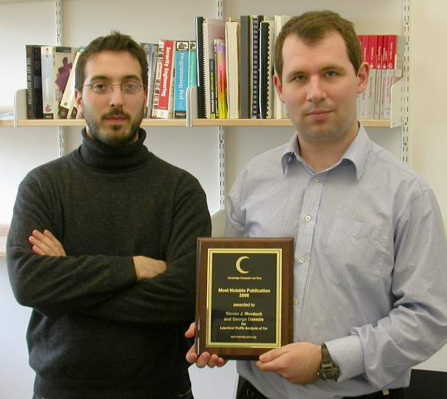 George Danezis and Steven J. Murdoch, most notable publication 2006