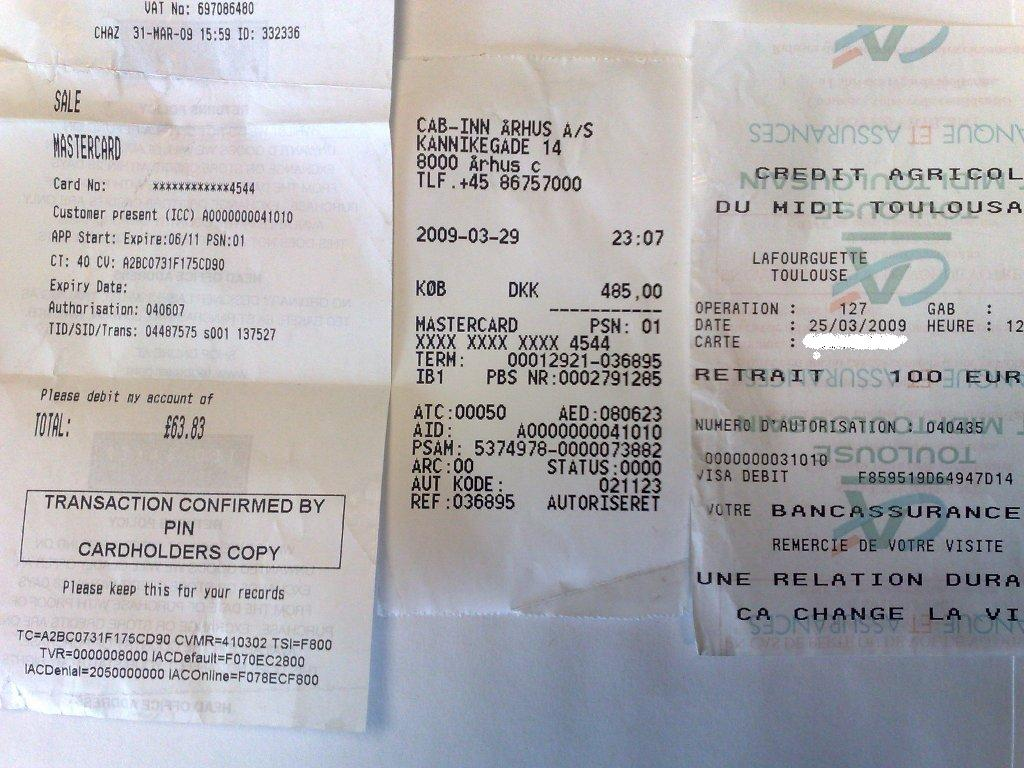 Various POS receipts