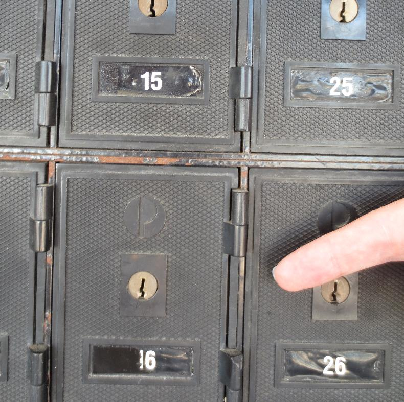Close-up of PO Box #16