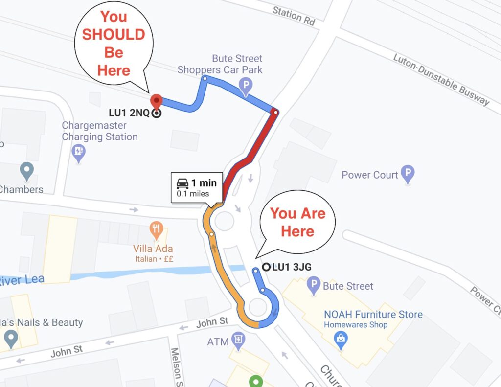 Google Map showing the driving route and distance between the car park at the given postcode, and the car park at the given address