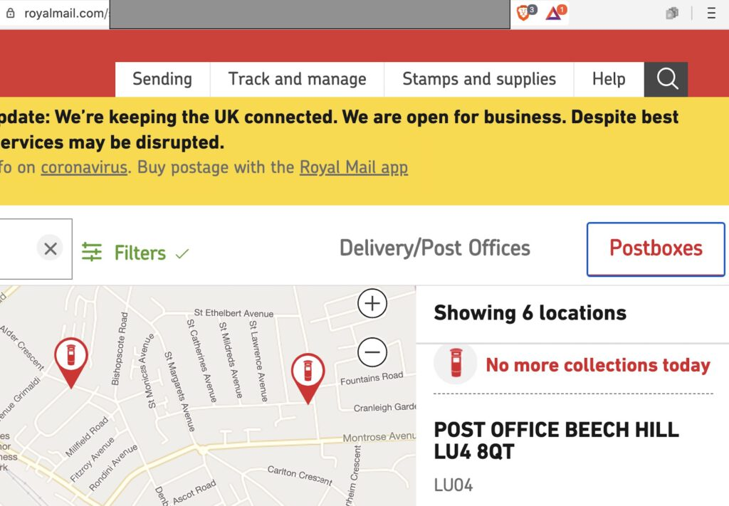 Map showing the postcode error on the Royal Mail website