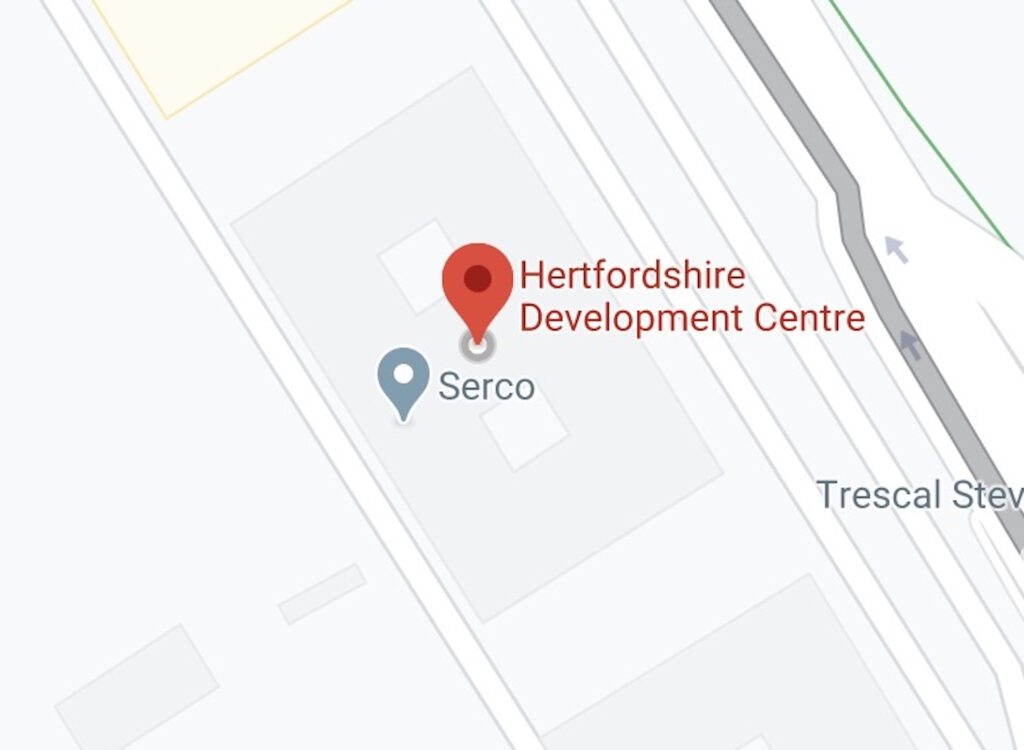 Google map showing proximity of testing centre address, to Serco  call centre.